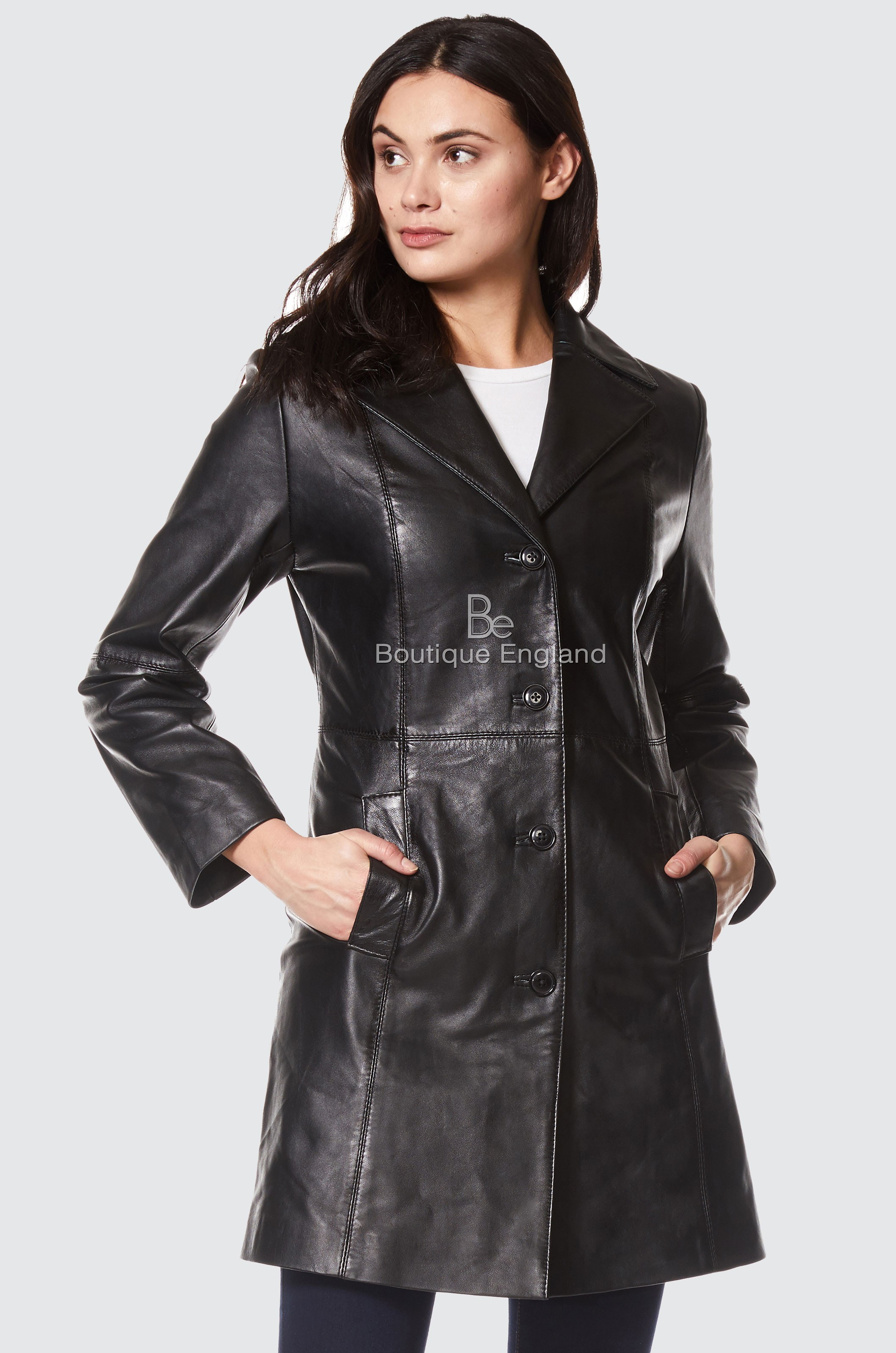 timeless design variousstyles price reduced TRENCH LADIES BLACK CLASSIC KNEE-LENGTH DESIGNER REAL NAPPA LEATHER JACKET  COAT 3457
