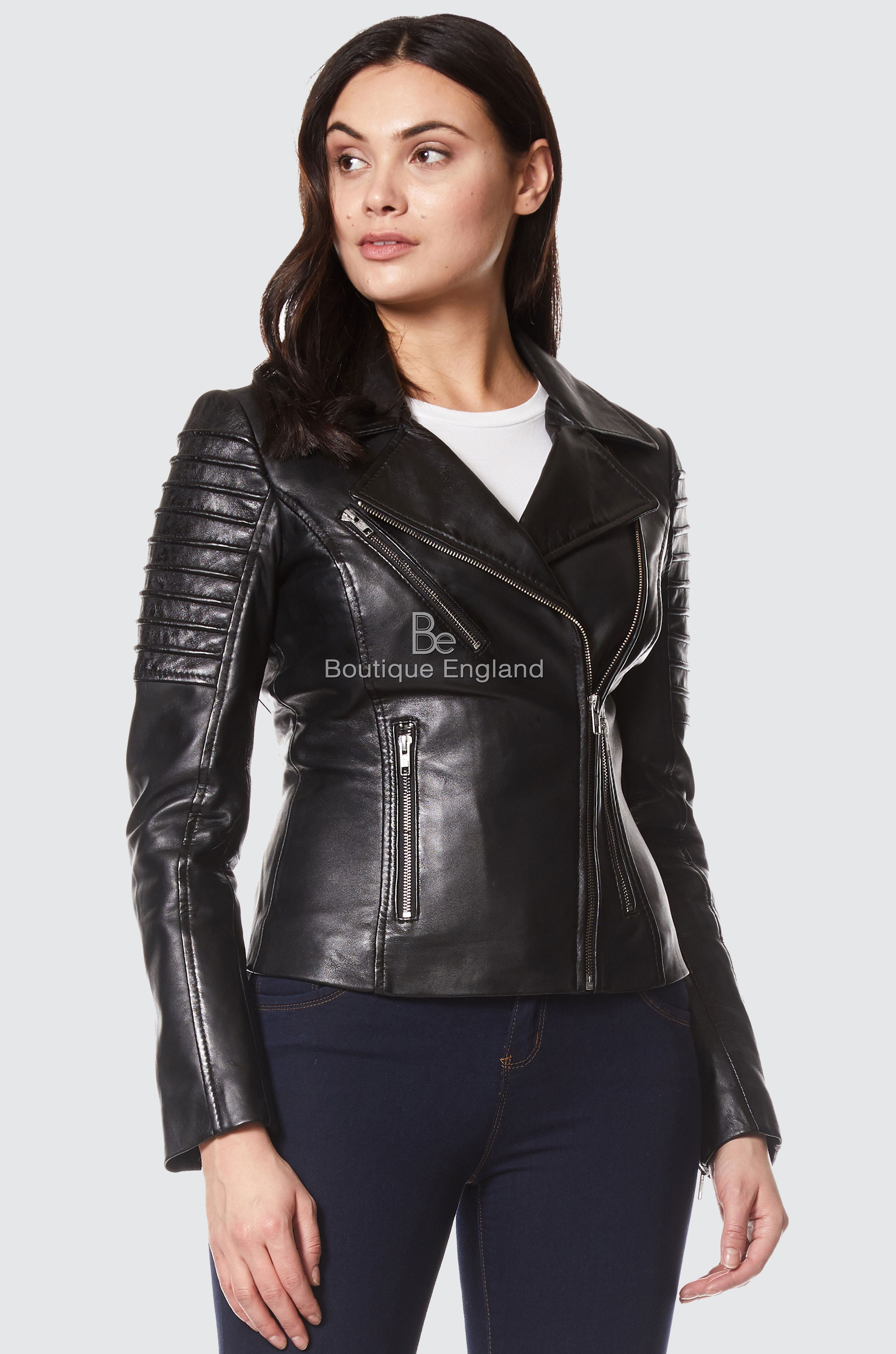New Stylish Ladies BLACK Casual Style Fashion Fitted Real Nappa Leather Jacket