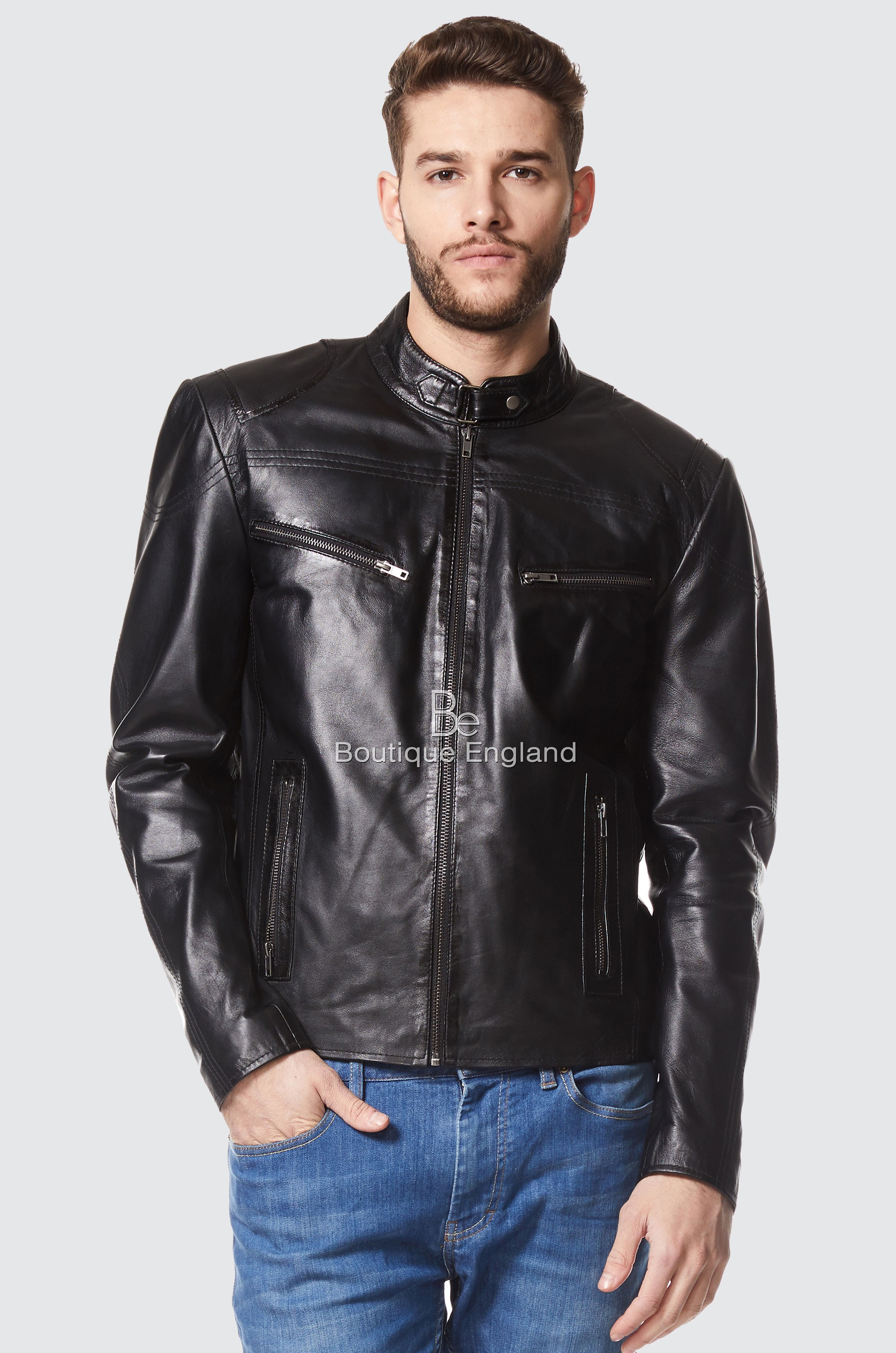 Mens Leather Jacket Black Cool Retro Motorcycle Style   100% REAL LEATHER SR-02