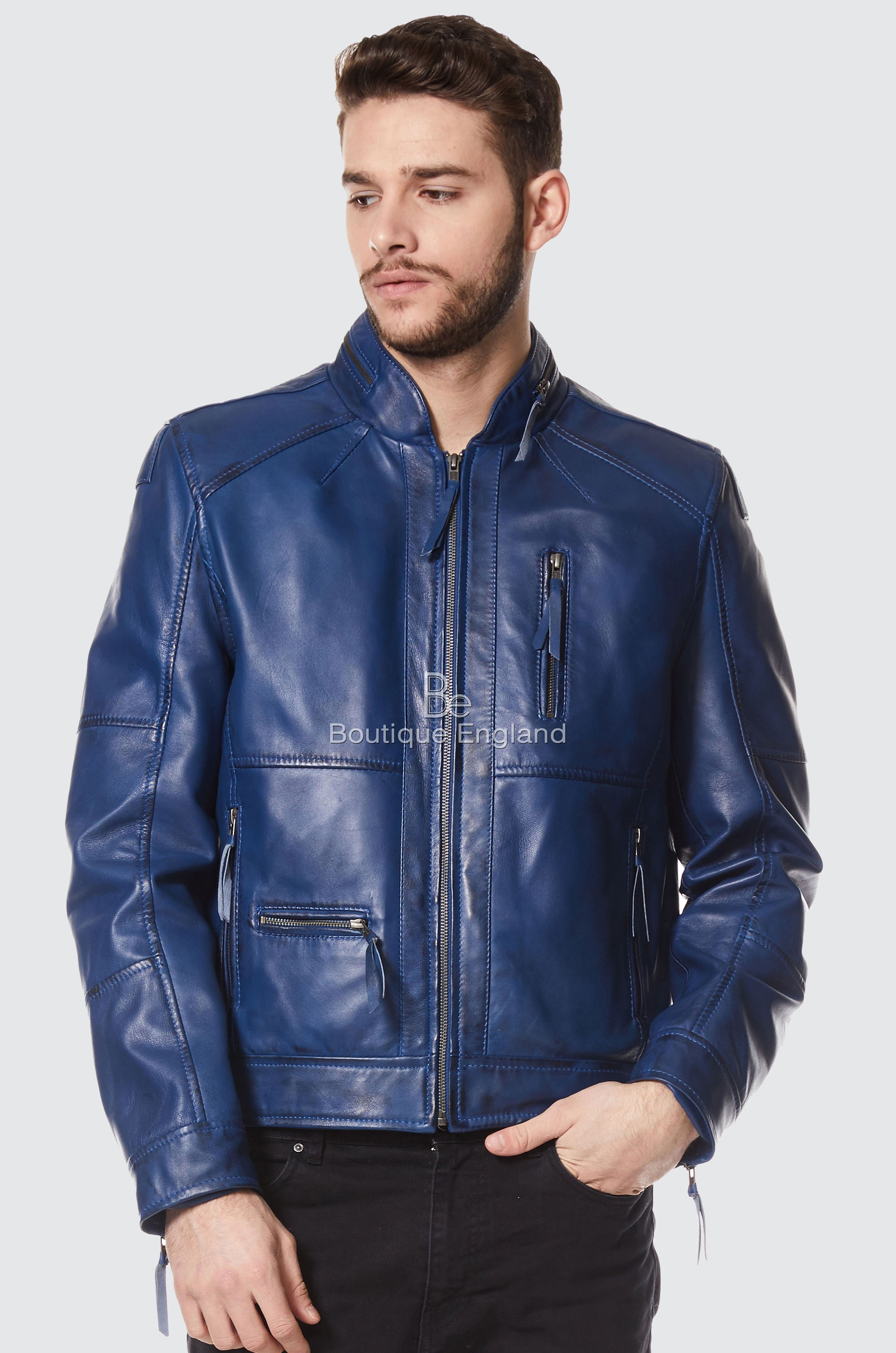 Men's Classic Style BLUE ZipCollar Designer Wax Casual Soft Leather Jacket 9056
