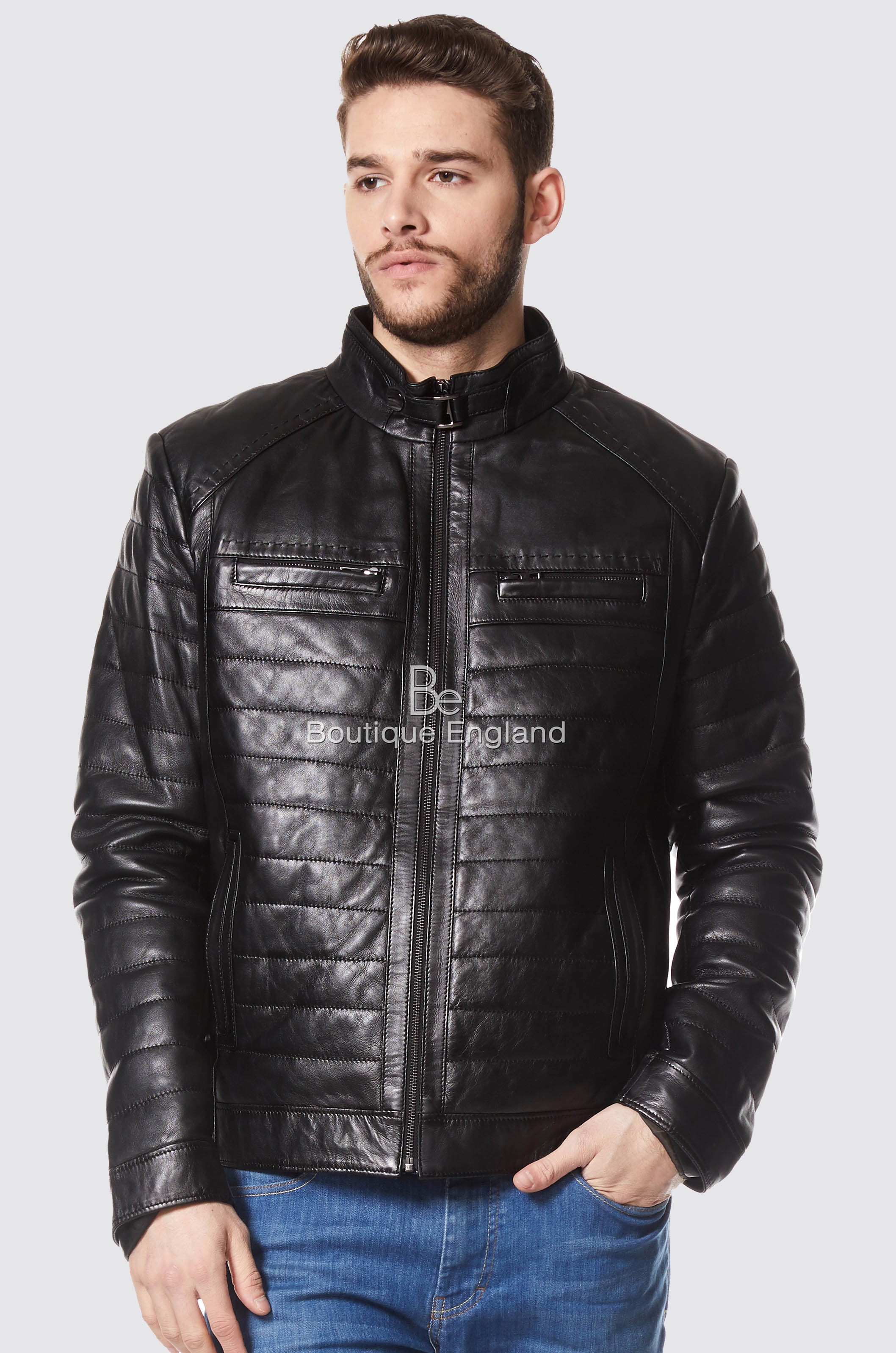 Usher Raymond Rock Star Quilted Black Real Napa Leather