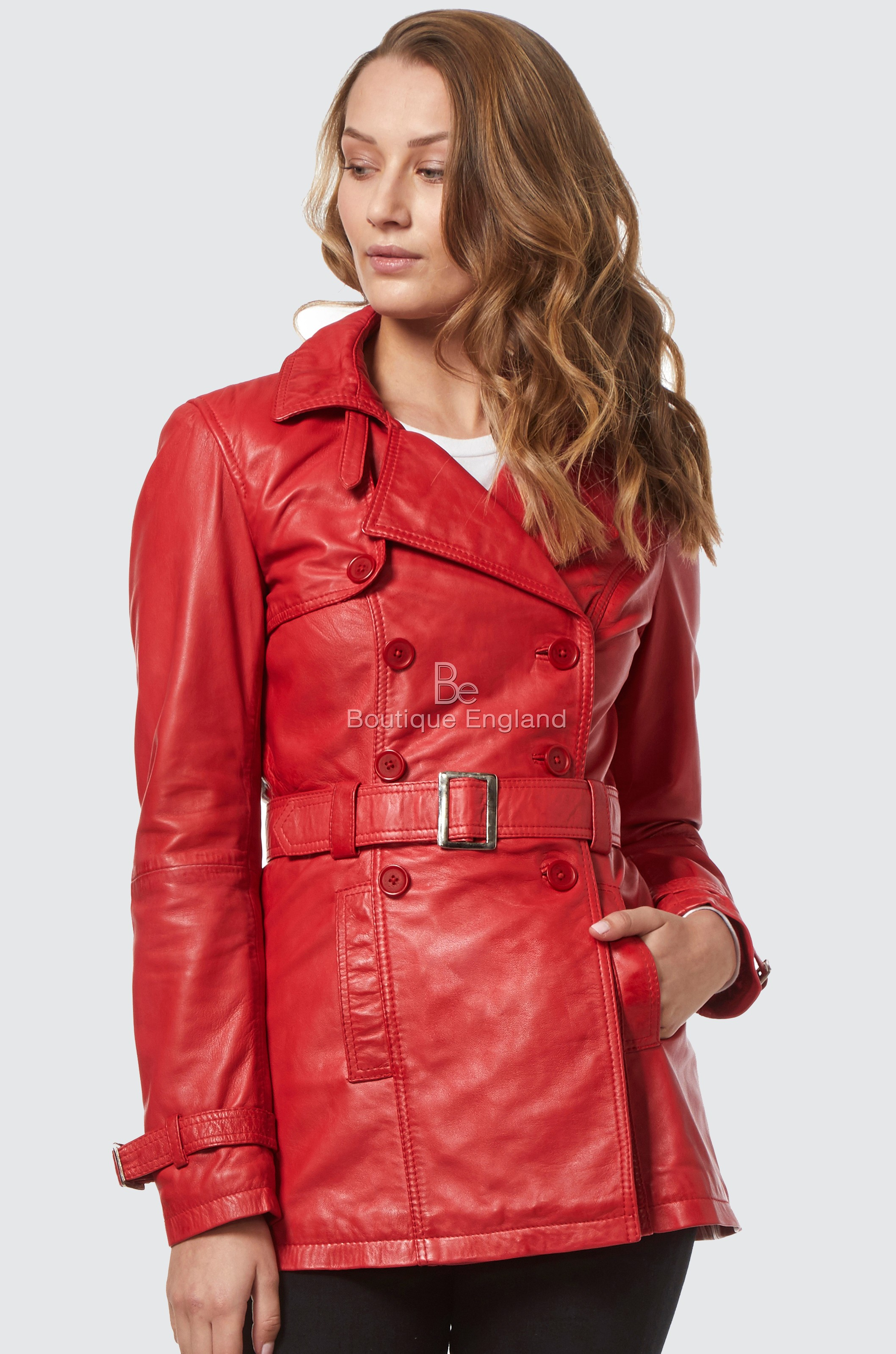 Ladies Red Classic Mid-Length Designer Real Leather Deluxe Jacket Coat 1123