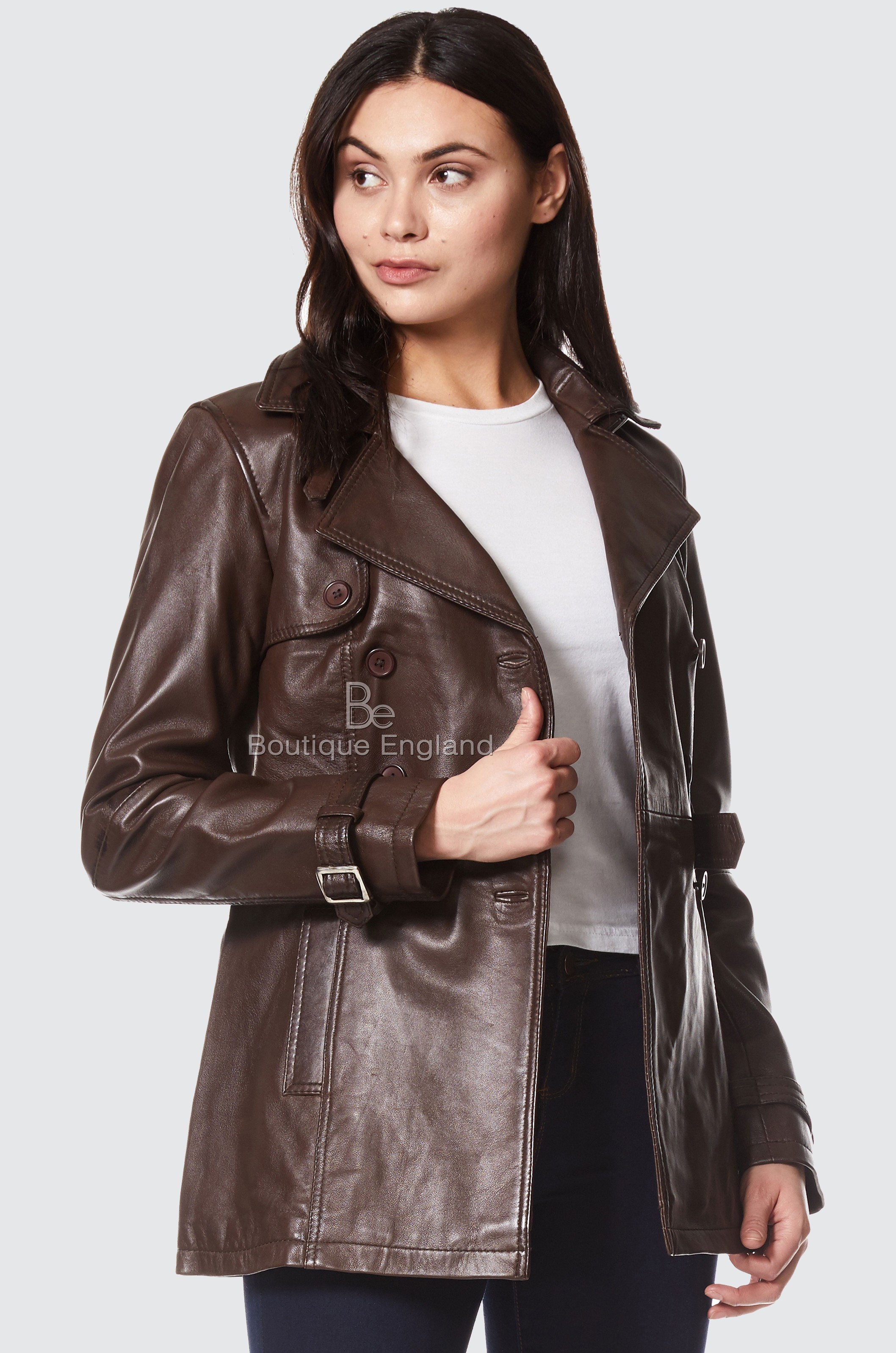 Ladies Trench Coat Brown Classic Mid Length Fashion