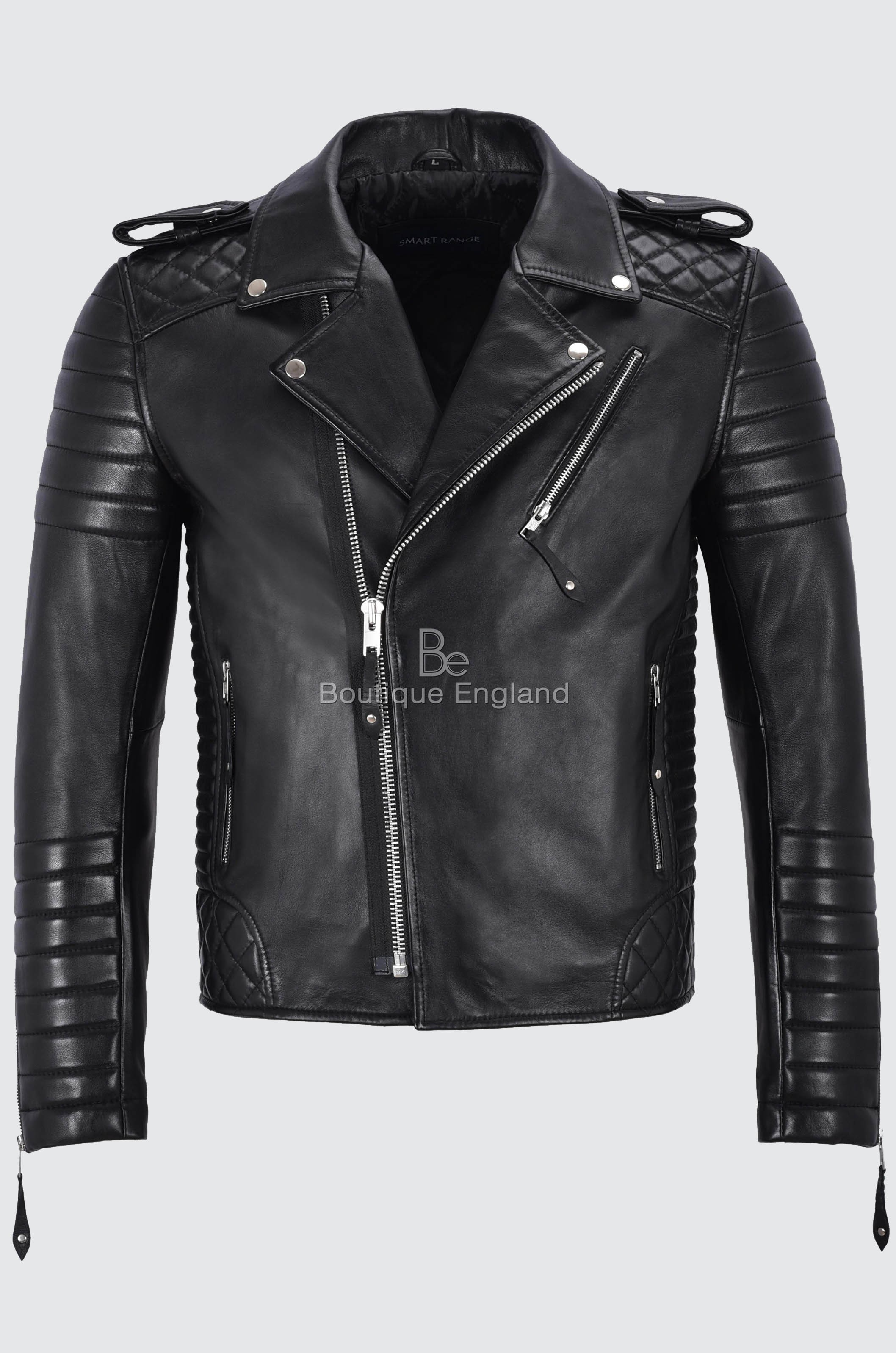 ecc8ca7b54c4fd Brando Men s Black Leather Jacket CLASSIC Quilted Soft Slim Fit ...