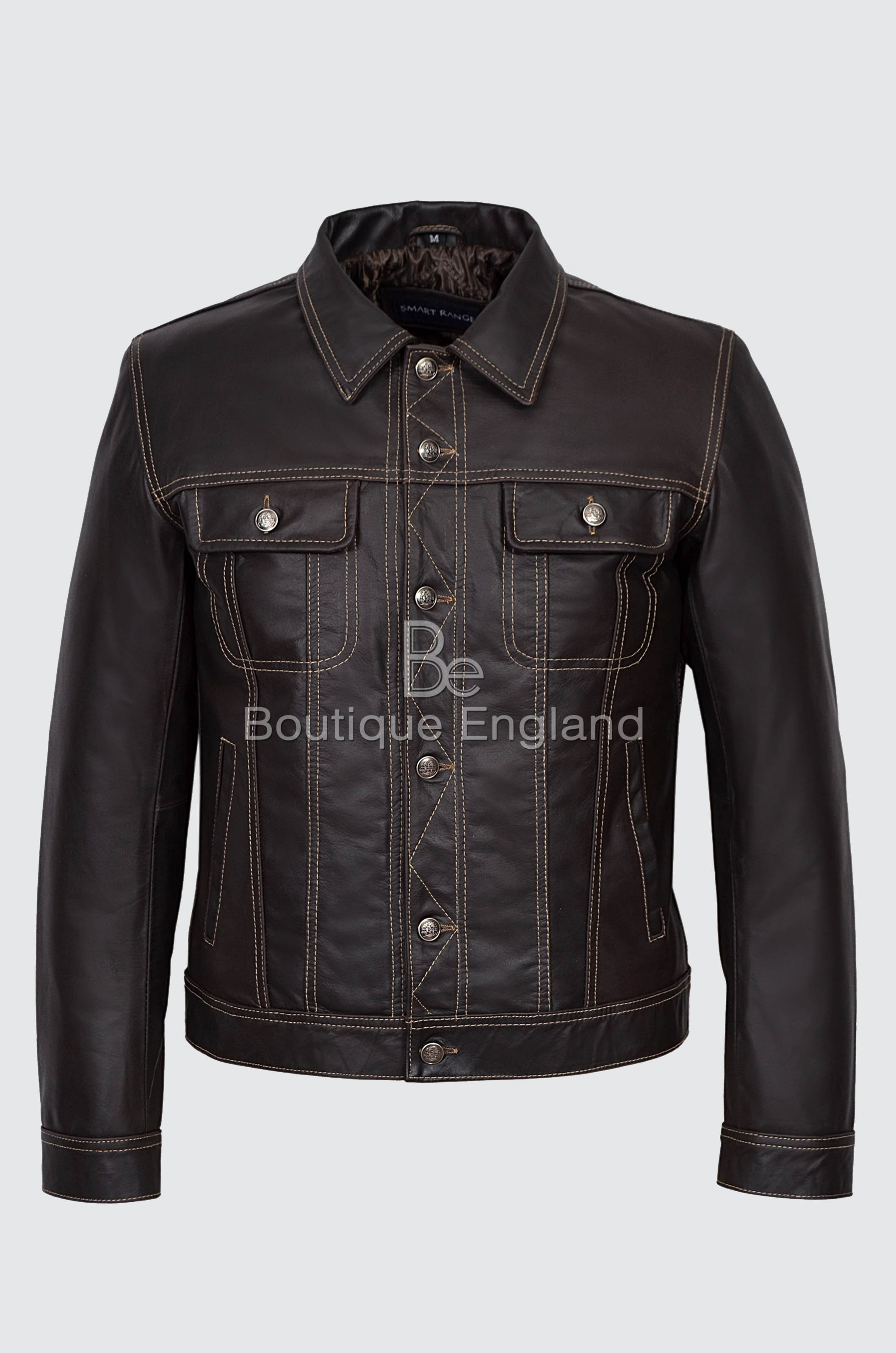 'TRUCKER' Men's Brown Skipper Classic Real Soft Western Leather Jacket 1280