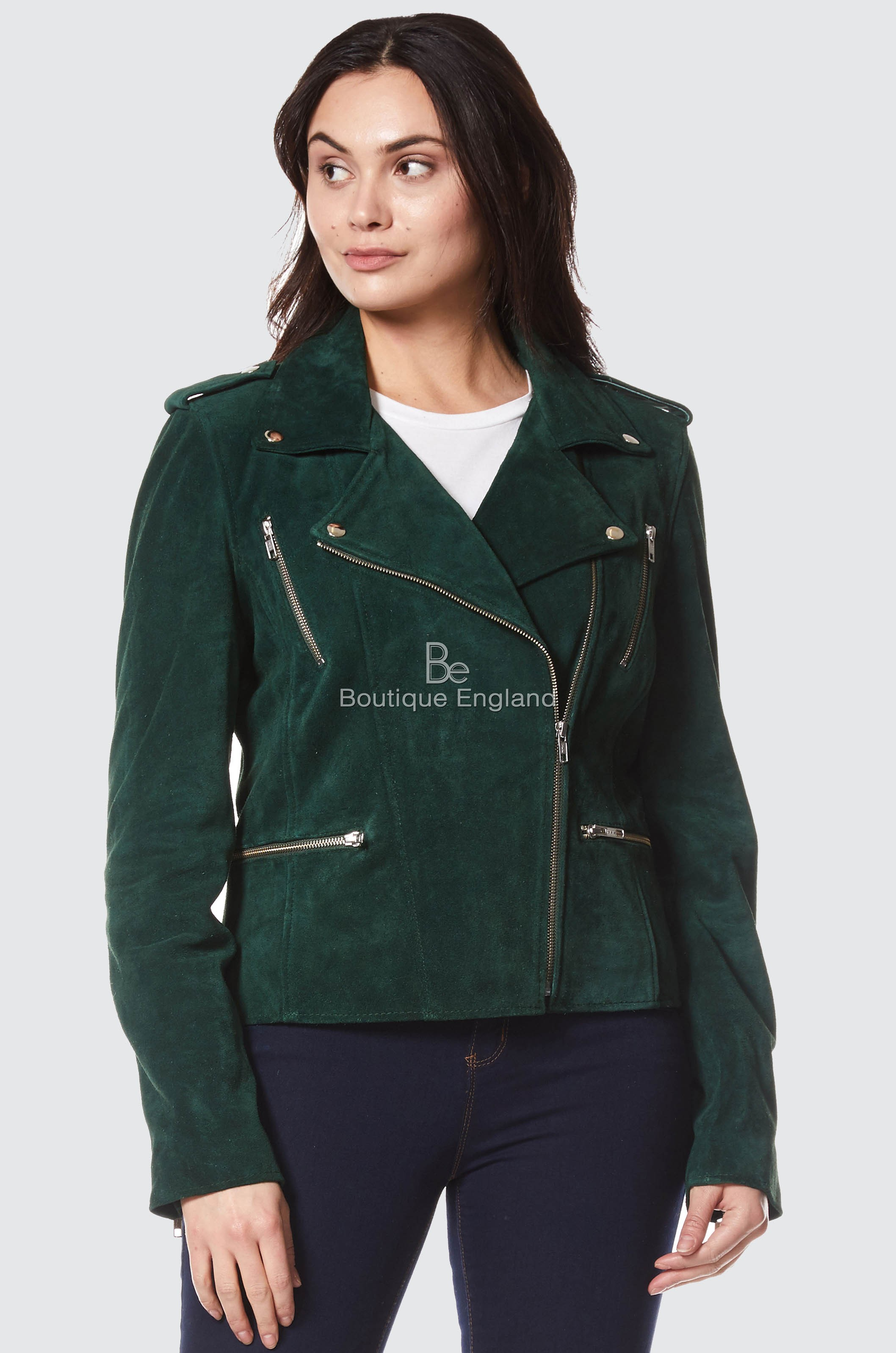 498255ca1 LADIES GREEN SUEDE BIKER STYLE MOTORCYCLE DESIGNER NAPPA LEATHER JACKET  7113-A