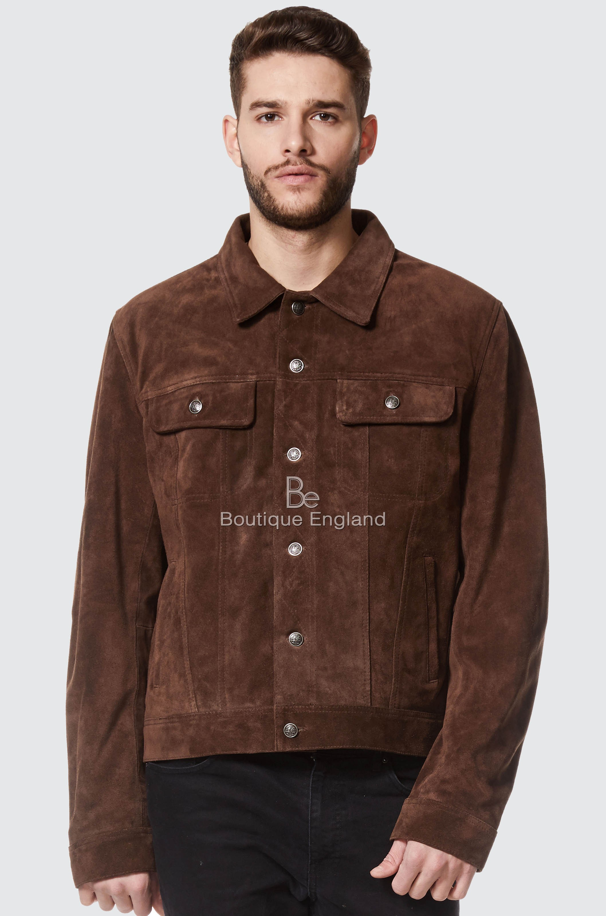 Men's 'TRUCKER' Suede Leather Jacket Brown | REAL LEATHER CLASSIC STYLE 1280
