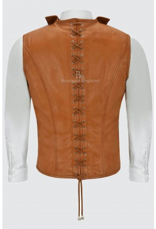 Steam Punk Leather Waistcoat Tan Military Style Classic Studded 100% Real Leather 1458