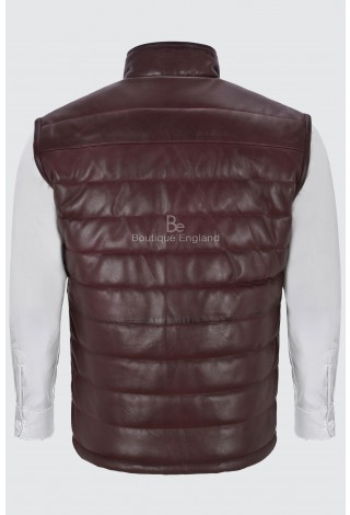 Men's Burgundy Stand Up Collar Quilted Waistcoat Lamb Leather Gilet Vest 4330