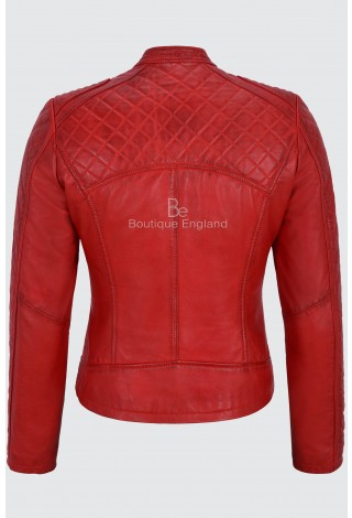 Ladies Leather Jacket Red Biker Style Fitted Diamond Shape Front Panel