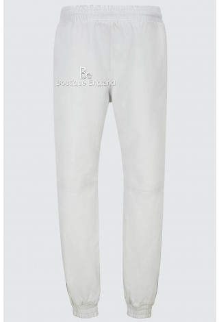 Men's Real Leather Trousers White Napa Sweat Track Pant Zip Jogging Bottom 3040