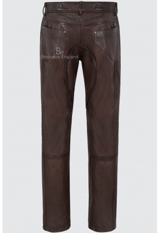 Men's Brown Genuine Nappa Leather Motorcycle Biker Jeans Style Trouser 4669
