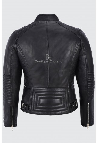 Men's Real Leather Jacket Black Quilted Design Soft Biker Motorcycle Style 6256