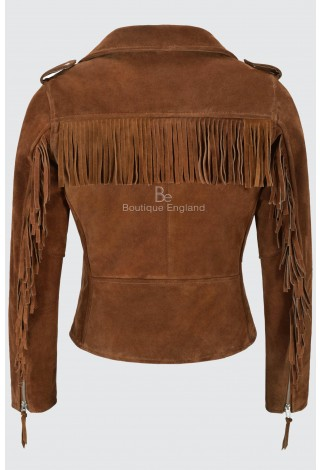 BRANDO Ladies's Suede Leather Jacket Tan Fringe Biker Motorcycle Style 100% Real Napa MBF