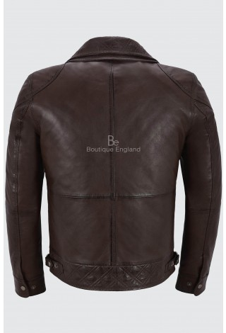 Men's Biker Leather Jacket Brown Double Layered Collar & Zip Real Leather M-139