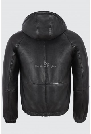 Men's Hooded Leather Jacket Black Fitted Stylish Sports Real Napa Lambskin Leather 2113