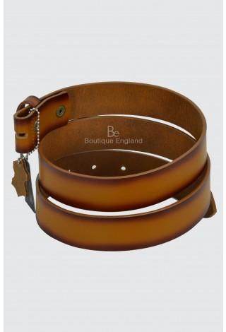 Men's Genuine Real Cow Hide Leather Belt Strap Tan Wax Stud Snap Clip On 40mm Style 615