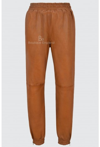 Men's Tan Napa Real Soft Leather Trousers Sweat Track Pant Zip Jogging Bottom 3040