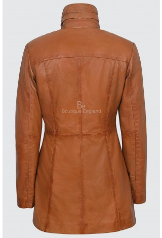 'MISTRESS' Ladies Tan Napa Gothic Style Fitted Real Lambskin Leather Jacket Coat 1310