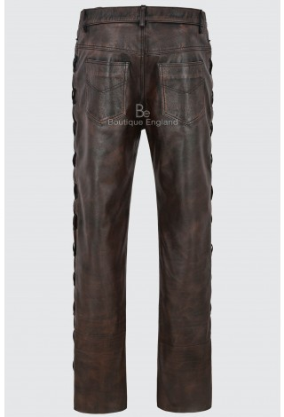Men's Biker Leather Trouser Black Rub Off Laced Motorcycle Style 100% Hide 00126