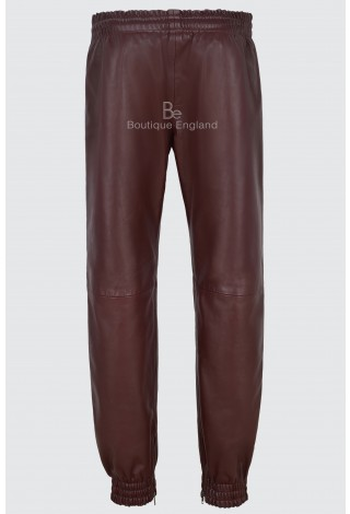 Mens Leather Trouser Cherry With White Straps Soft Napa Jogging Bottom 4051