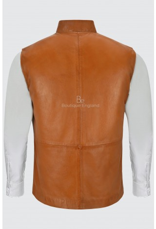 Men's Leather Waistcoat Tan Mandarin Collar Indian Ethnic Vest Real Napa 3946