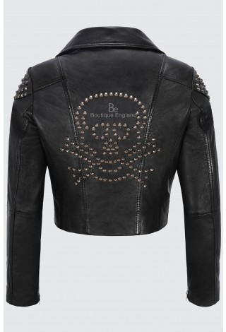 "Ladies Leather Jacket Black ""BACK SKULL STUDED"" Biker Style REAL SOFT NAPA 2740"