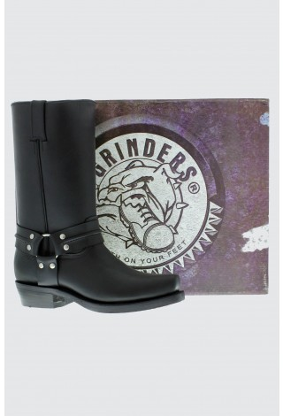 Grinders Renegade Hi Black Unisex Leather Boot Cowboy Western Bikers High Boots
