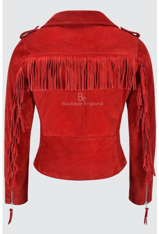 BRANDO Ladies's Suede Leather Jacket Red Fringe Biker Motorcycle Style 100% Real Napa MBF