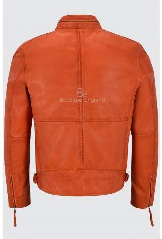 Men's Leather Jacket Classic Style Orange Zip-Collar Designer Casual Soft 100% Real Napa 9056