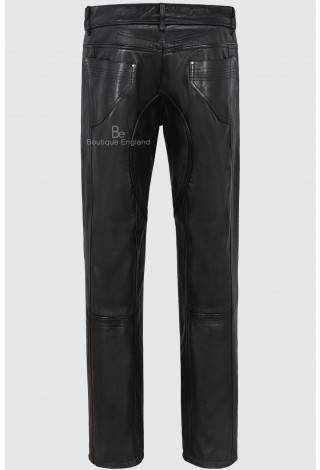 Men's Leather Trouser Black Biker Motorcycle Jean Style 100% Real Napa 4669