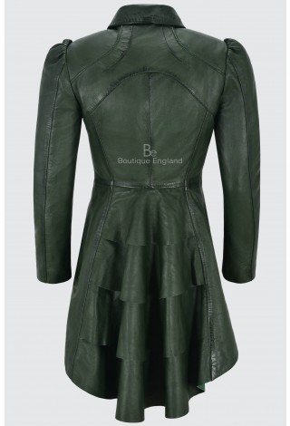Ladies Green Gothic Dovetail Real Leather Tailcoat Long Slim Fit Fashion Jacket 5003