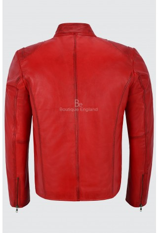 Men's Leather Jacket Red Quilted Design Biker Motorcycle Style Real Lambskin SR-02