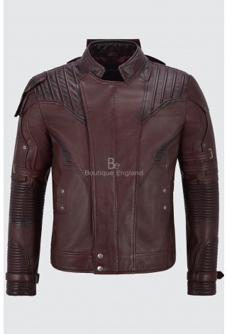 Guardians Of Galaxy 2 Movies Inspired Mens Jacket Star Lord Chris Pratt Maroon Petter Quil 100% Real Leather 4095