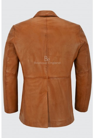 Men's Leather Blazer Tan Classic Italian Tailored Soft Lambskin Leather Slim Jim