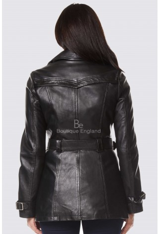 'TRENCH' LADIES BLACK CLASSIC MID-LENGTH DESIGNER REAL LEATHER JACKET COAT