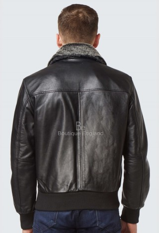 'AIR FORCE'Men's Black Shearling Collar Aviator BOMBER Real Soft Lambskin Leather Jacket 1169