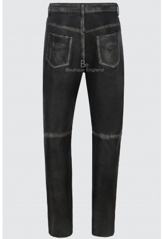 Men's Leather Trouser Motorcycle Black Vintage Real Lambskin Leather Jean Style 501