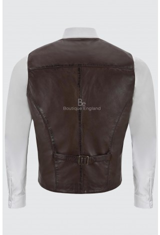 Men's Real Brown Leather Waistcoat Party Fashion Stylish Napa Leather Vest 5226