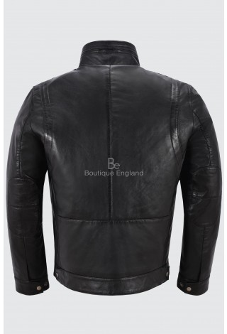 Men's Real Leather Black Collar Jacket Retro Bomber Urban Look Zipper Jacket 999