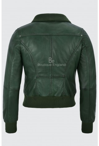 'FUSION' Ladies GREEN WASHED Short Bomber Biker Motorcycle Style Leather Jacket 3758