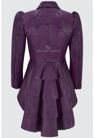 Ladies Purple Gothic Dovetail Real Leather Tailcoat Long Slim Fit Fashion Jacket 5003