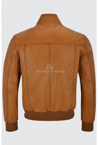 Men's 70's Leather Jacket Tan Quilted Retro Bomber Style Lambskin Leather 4757
