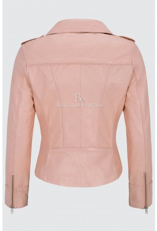 Ladies's Leather Jacket Baby Pink Biker Motorcycle Short Style 100% Real Napa 9823