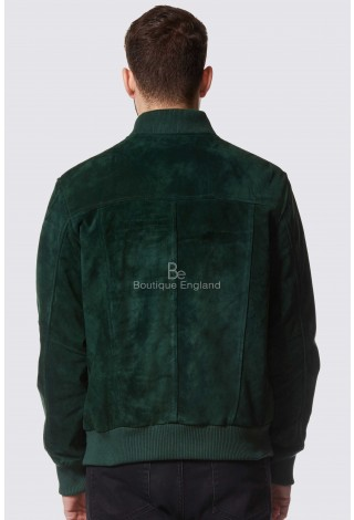 Men's Green Suede Classic Bomber Style Fitted Real Leather Jacket