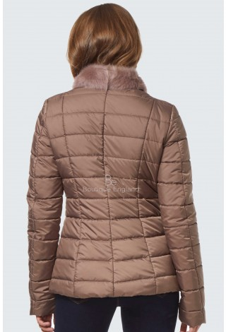 EMILY Women's Tuscana Sheepskin Shearling Quilted Jacket Powder Pink Material