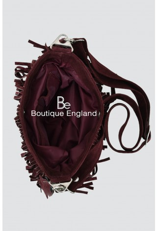 New Ladies 2021 Cherry Messenger Bag Tassel Fringe Cross Body Women Shoulder Handbag Real Suede Leather