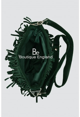 New Ladies 2021 Green Messenger Bag Tassel Fringe Cross Body Women Shoulder Handbag Real Suede Leather