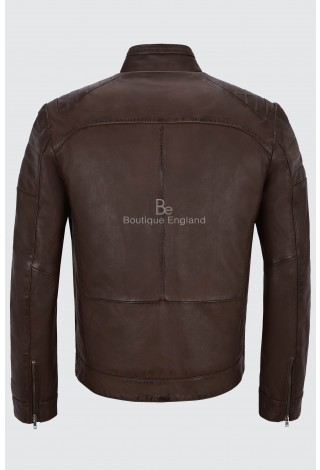 Men's Leather Jacket Brown Biker Motorcycle Style 100% Real SOFT AND PRIME Napa 8334