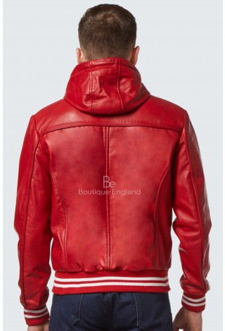 New 'BASEBALL' Men's Red Hood Slim Fit Stylish Hip Hop Italian Leather Jacket 4486